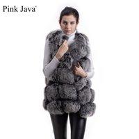 ingrosso giacche in pelliccia rosa-Rosa Java QC8046 GRANDE VENDITA SPEDIZIONE GRATUITA hot new natural fox fur maglia lunga vera pelliccia di volpe gilet inverno donne di alta qualità