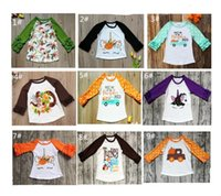 gestreifte t-shirts für kinder groihandel-Kinder-Mädchen-T-Shirts Baby-Weihnachts Halloween Danksagungs-T-Shirt Einhorn-Kürbis-Flecken-gestreifte Punkte Rüschen Langarmshirts Tees A101001
