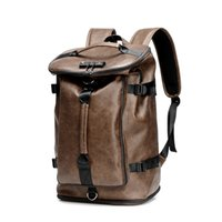 Wholesale leather notebooks for men resale online - Outdoor Waterproof Men s PU Leather Backpack for Laptop inch Large USB Notebook Travel Backpack Male Back Pack Black Kha