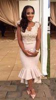 vestido de cetim longo e sexy venda por atacado-Sexy Africano de Cetim Sereia Vestidos de Cocktail Sheer Voltar Mangas Curtas Barato Plus Size Árabe Longo Vestidos de Baile Personalizado Do Partido Da Dama de Honra Vestidos