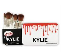 cepillos de nylon blanco al por mayor-12 piezas Kylie White Makeup Brushes Set Foundation Blending Powder Powder Eyeshadow Contourler Concealer Blush Cosmetic Makeup Brush Tool