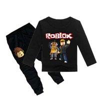 menina roupa de roupa íntima venda por atacado-Crianças pijama crianças pijamas baby Underwear set meninos meninas Roblox Jogo Esportes terno algodão nightwear Tops + Lazer Pant