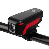 фонарь для велосипедов оптовых-Bike Headlight Night With Speaker Switch Decorative Cycling Adjustable Safety Front Light Horn USB Rechargeable Waterproof