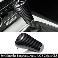 For Mercedes-Benz w204 w212 Carbon Fiber Interior Gear Shift Cover car stickers and decals styling For A C E G class CLS accessories