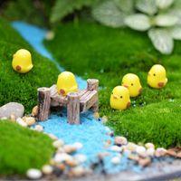 ingrosso giardini diy paesaggistica-2019 Giardino FAI DA TE Decorazione Artificiale Mini Animali Mestiere Della Resina Cazzo Giallo Pulcino Combinazione Bonsai Figurine Fata Micro Paesaggio Ornamento