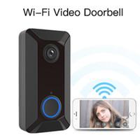Wholesale waterproof doorbells resale online - V6 wifi Doorbell Smart Wireless P video camera Cloud storage door bell cam waterproof home security house bell black