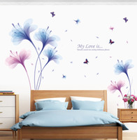 Wholesale flowers living room sofa online - Romantic Flower Pattern Wall Sticker For Bedroom Sofa Backdrop Decor Newlyweds Home Decorative Wall Stickers Quality PVC Wall Decals