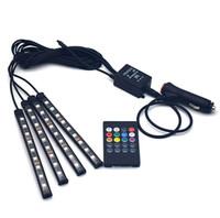 dekoratif şeritler toptan satış-Evrensel Kablosuz Uzaktan Kumanda Araba RGB 9 LED Neon İç Işık Lambası Şerit Dekoratif Atmosfer Işıkları Araba Styling 7 renkler