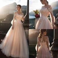 Wholesale wedding plus tulle dresses resale online - Romantic Sheer Long Sleeves Wedding Dresses A Line Tulle Lace Appliqued Illusion Bridal Gowns Custom Made robes de mariée