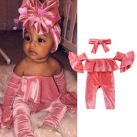 Wholesale child rompers for sale - Group buy 2019 New Baby Girls Rompers INS Children Velvet Shoulderless Fly Sleeve Jumpsuits Fashion Infant Toddlers Climbing Clothing With Headband