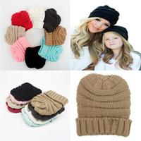 Hot sale Parents Kids Hats Baby Moms Winter Knit Hats Warm Hoods Skulls Hooded Hats Hoods M048