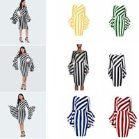 Wholesale stripe clothes for sale - Vertical Diagonal Stripes Dress Women Splice Flounce Sleeves Dresses Lady Bodycon Dress Short Striped Patchwork Clothes Casual Dress GGA2054