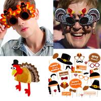 óculos de sol fantasia venda por atacado-Partido de Ação de Graças Props partido do traje Acessórios Decoração novidade Fantasia Turquia Hat Photo Booth Props Kit peru engraçado Sunglasses 09