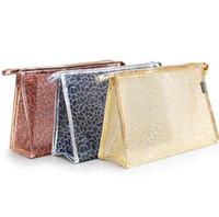 Wholesale transparent storage organizers resale online - Transparent Lace Cosmetic Bags PU Waterproof Makeup Bag Gitter Zipper Organizer Storage Pouch Toiletry Beauty Wash Kit Bags GGA2047