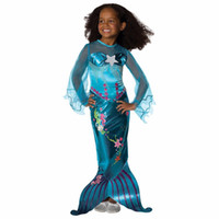 Wholesale halloween costumes for girl child resale online - Girls Mermaid Dresses Princess Flare Sleeve Floral Tail Princess Dress For Birthday Evening Party Dresses Girl Children Kids Costumes