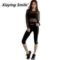 sonrisa rápida al por mayor-Xiaying Smile Women Grenadine Transpirable Sport Running Set Yoga Summer Set Quick Dry Gym Fitness Yoga Workout Ropa deportiva Traje