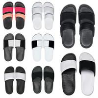 chanclas negras para hombres al por mayor-nike Moda de buena calidad para hombre mujer diseñador zapatillas BENASSI negro blanco rojo a rayas sandalias causales antideslizantes verano zapatillas chanclas zapatillas