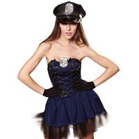 polis kadınları seksi kostüm toptan satış-Yeni Yetişkin Kadın Seksi Cop Kostüm Cadılar Bayramı Karnaval Polis Memuru Cosplay Fantezi Elbise Seksi Kadın Polis Mavi Kıyafetler