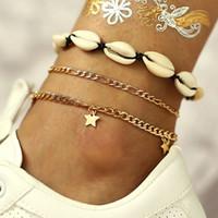 ingrosso spedizione stella dell'oceano-Star Pendant Anklets 2019 For Women New Stone Beads Shell Anklet Bohemian Bracelets On Leg BOHO Ocean Drop Drop