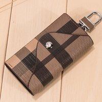 ingrosso portachiavi in pelle-Morbida pelle Holder Car Key Case Portachiavi Cash borsa del portafoglio