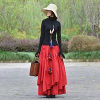 lange rote baumwoll-maxi-röcke großhandel-Neue chinesische stil lange maxi a-line elastische taille frauen herbst baumwolle und leinen plus größe s-2xl rote röcke