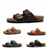 ingrosso pantofole di cuoio delle donne pu-2019 pantofole suola in legno morbido Tomaia in vera pelle Nuove scarpe casual Pantofole da uomo firmate Pantofole da donna Sandali hip-hop