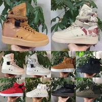botas de media hombre al por mayor-Sequoia calidad superior Forced 2020 zapatos de moda especial Campo SF mediana para los hombres AF un triple negro blanco 1 entrenador alta zapatilla de deporte Botas Deportes