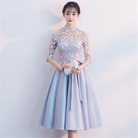 cheongsam vestido de baile curto venda por atacado-Arco Azul Mulheres Qipao Cetim Vestido de Festa À Noite de Luxo Oco Out Cheongsam Chinês Prom Vestido Sexy Elegante Lace Curto Vestidos