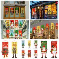 fenêtres des portes noires achat en gros de-80 * 40 cm De Noël Tissu Drapeau Fenêtre Home Wall Decor Parti Suspendu Ornements Peintures Père Noël Cerf arbre porte drapeaux FFA1342