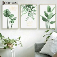 Wholesale landscape art posters resale online - ART ZONE Nordic Green Plant Painting Minimalist Plant Landscape Painting Living Room Home Decor Wall Art Print Unframed Poster