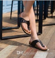 zapatillas de corcho de hombre al por mayor-Chanclas 2016 Summer Soft Foam Sandalias de corcho Zapatillas Hombres Mujeres Amantes Zapatos de playa Pisos Slip On Sandalias Zapatos Mujer HombreFlip