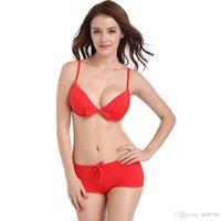 roupa de banho vermelha biquíni venda por atacado-Novo Estilo 2019 mulheres Big Red Bikini Casamento Comemoração Sutiã ABC Gathering Sexy Top Side Coleção Bra Swimwear