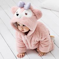 ropa linda del bebé del elefante al por mayor-Mameluco del animal del bebé Oso lindo del elefante del oso del gato para las muchachas infantiles Niño del muchacho de la franela Mono Ropa de abrigo externa