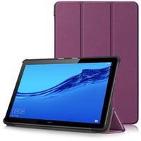 huawei mediapad ince durum toptan satış-Huawei MediaPad İnce akıllı shell kılıf T5 10 T3 7 8 10 m5 lite 8.4 10 tablet pc Üç Kat pu deri Sert arka kapak Standı
