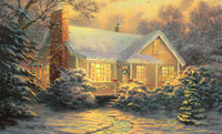Wholesale snowing oil paint for sale - Group buy Thomas Kincaid Sunshine after snow Home Decor Handpainted HD Print Oil Painting On Canvas Wall Art Canvas Pictures