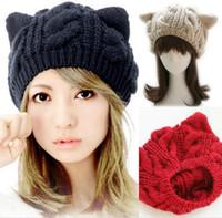 şeytan kulakları şapka toptan satış-Ücretsiz kargo moda Kore Kadınlar lady Şeytan boynuzları Kedi Kulak Tığ Örgülü Örgü Kayak Bere Yün Şapka Kap kış sıcak bere WL749