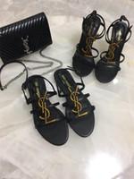 keile 12cm ferse großhandel-Damen High Heel Wedges Sandalen mit Metall Logo Design, Plateau Wedges High Heels aus Echtleder 12cm Größe 34-41