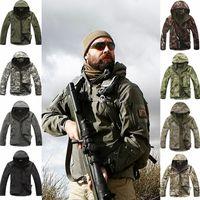 ingrosso abbigliamento impermeabile da caccia-Sport all'aria aperta Shark Skin Soft Shell Camo Jacket Pants Uomo Escursionismo Caccia Abbigliamento impermeabile Camouflage Tattico campeggio abbigliamento da pesca