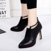 Wholesale large size shoes for women for sale - Group buy Sexy Boots Zipper Winter Shoes For Women Booties Ladies Crystal Boots women Autumn Rubber Large Size