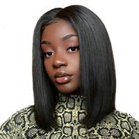 perukları örgü toptan satış-14 inç Örgü Güzellik Kısa Dantel Ön İnsan Saç Peruk Ön Koparıp Saç Çizgisi ile Bob Peruk Brezilyalı Saç Dantel Kapatma peruk
