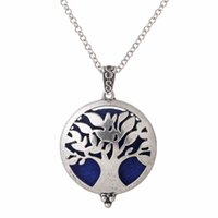 Wholesale locket online - V1274 Life Tree Locket Pendant Perfume Essential Oil Aromatherapy Diffuser Necklace Locket Necklace