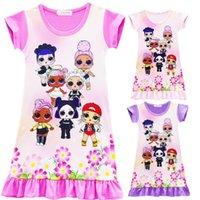 ingrosso pigiama bambini principessa-6 ragazze di colore sorpresa principessa abito bambini nuovi cartoni animati maniche corte pigiama abiti per bambini vestiti estivi