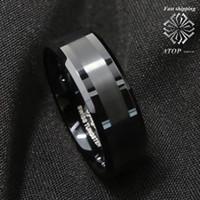 ingrosso anello di nozze di carburo di tungsteno-8Mm ATOP Brushed Center nero in carburo di tungsteno anello gioielli per uomo