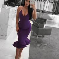 vestidos de noite bodycon venda por atacado-Sexy Bainha Roxo Mini Bodycon Cocktail Dresses 2019 Ruffles Na Altura Do Joelho Cintas de Espaguete Mulheres Prom Vestidos de Noite Barato