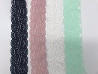 beyaz dantel naylon çorap toptan satış-10 yard / Lot yüksek kalite streç elastik dantel şerit 50mm Geniş Beyaz Dantel Spandex Naylon Streç dantel Trim süslemeler için dikiş