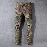 patch jeans marques achat en gros de-Nouveau populaire marque jeans mens designer jeans qualité trou pantalon décontracté camouflage patch pantalon en denim pantalon de haute qualité britannique