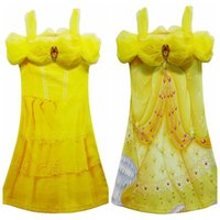 Wholesale beauty beast costume for kids resale online - Yellow Party Flower Girl Dresses Tulle Tutu Dress Belle Princess Costume Halloween Beauty and the Beast Cosplay Dress For Kids