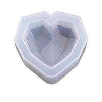 chocolate coração diamante venda por atacado-Diamante Coração Soap Mold Candle Mold Silicone Flexível Moldes Bolo Cookies de Chocolate DIY Decor 3 tamanho