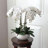ingrosso disposizione del fiore della tabella-1 Set High Grade Orchidee sensibilità della mano Sistemazione Fiore Tavolo Fiore No vaso fiore artificiale Home Office Decoration