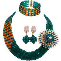 bisutería verde collares al por mayor-Teal Green Army Green Orange Costume Beads Africanos Joyería Conjunto Nigeriano Collar de Boda Conjuntos de Joyas de Cristal 5JZ08